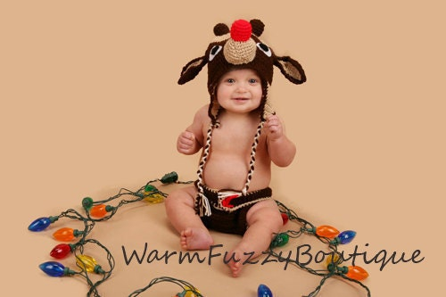 Baby rudolph reindeer hat amp diaper cover set outfit newborn beanie