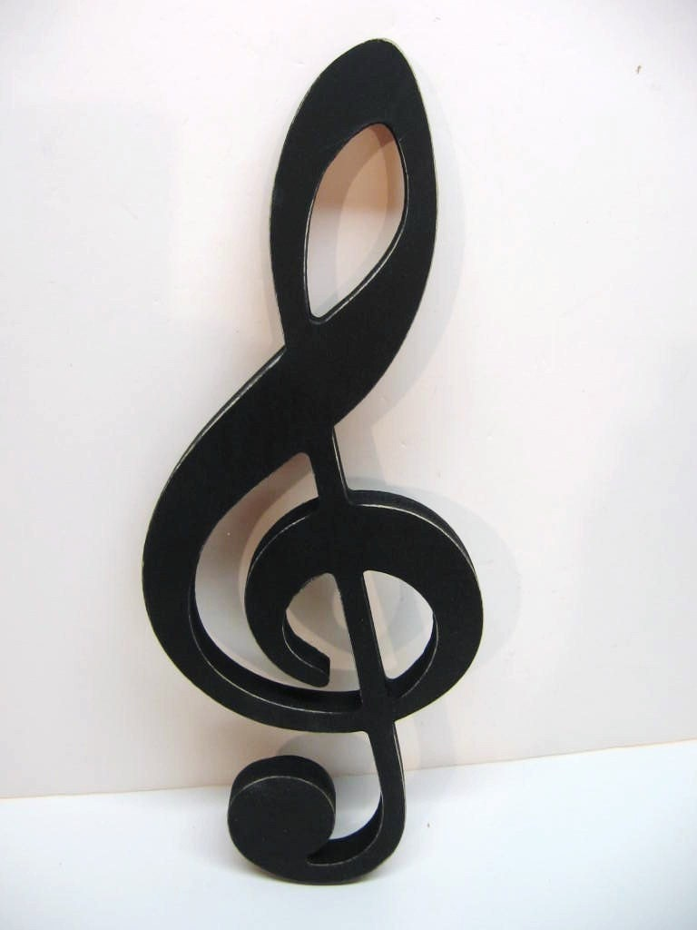Black Ampersand Wall Decor : Black wood musical note treble clef wall by dimestorevintage