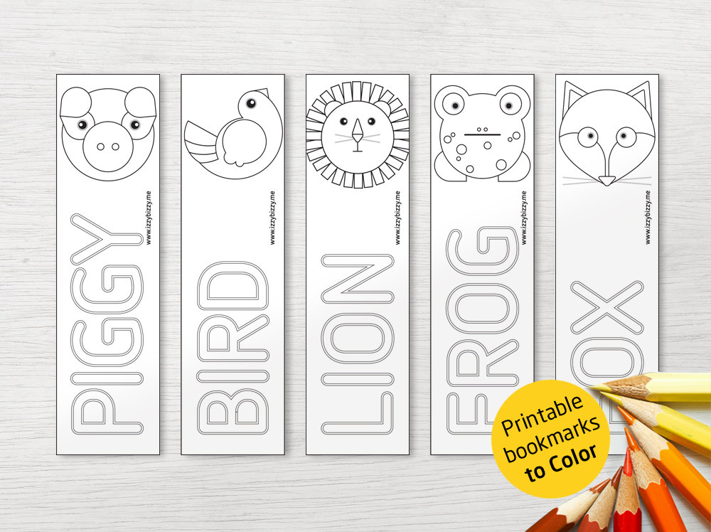 Animal Bookmarks Colouring Printable Coloring Animals Bookmark Set Pieces By