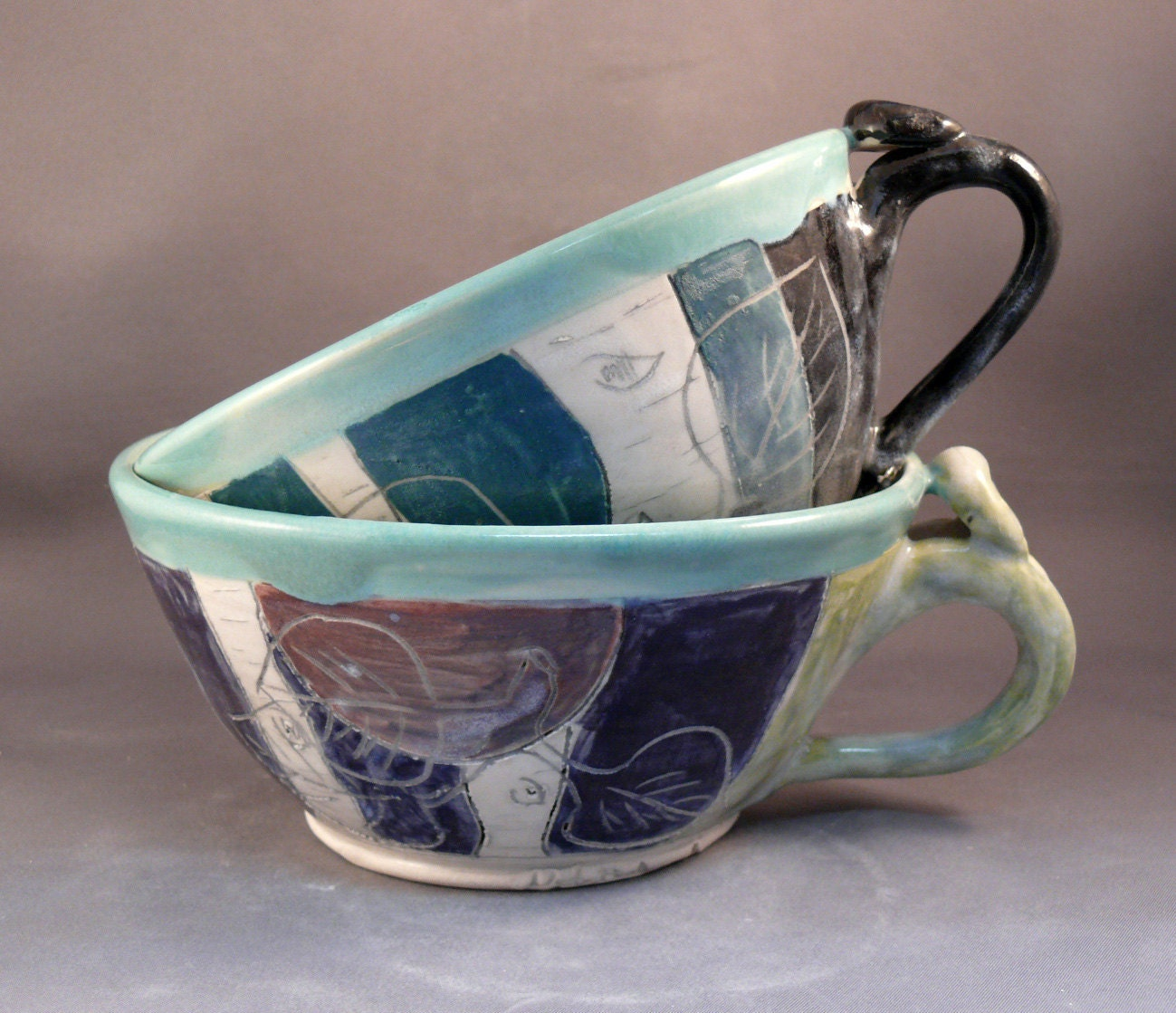 Two blue soup mugs / large latte cups teacups / woodland forest / for soup cereal ice cream chai tea latte coffee