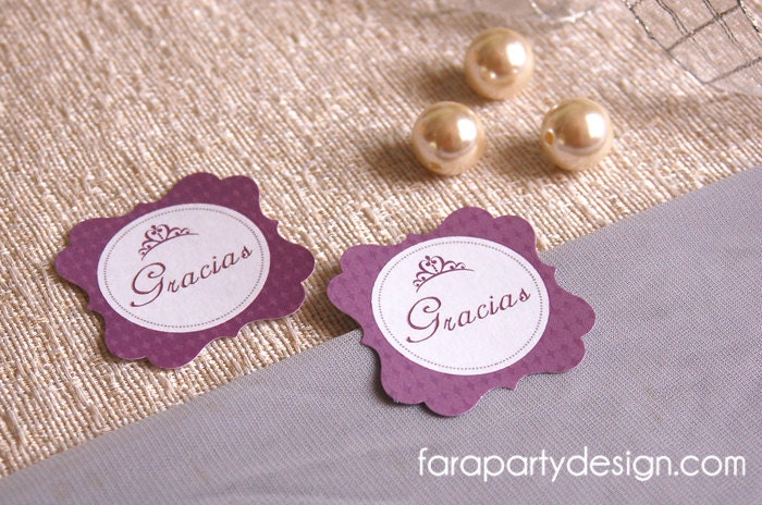 Sofía the First Inspired Princess Party Printable Collection- Thank you Tags by Fara Party Design - FaraPartyDesign