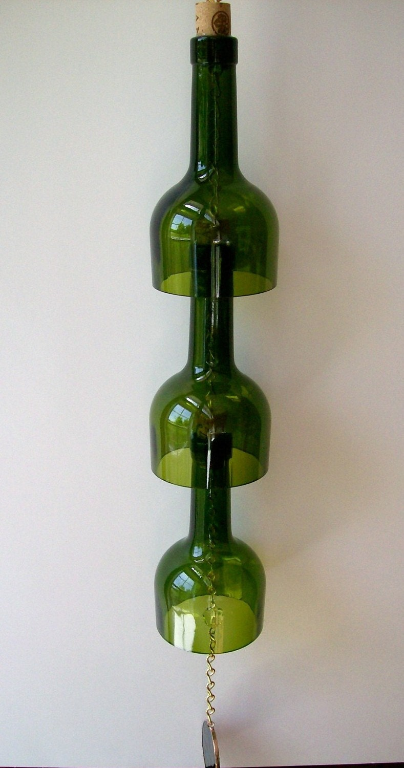 Wine bottle wind chime for How to make glasses made from wine bottles