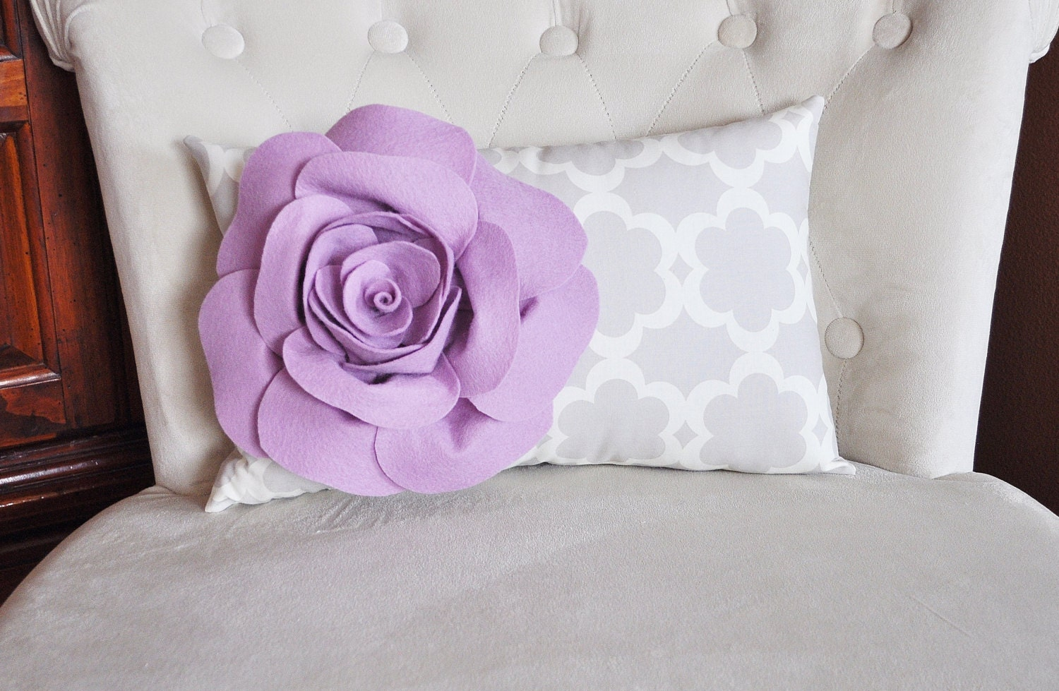 Lumbar Pillow Lilac Rose on Neutral Gray Tarika Lumbar Pillow 9 x 16 -Lattice Trellis- - bedbuggs