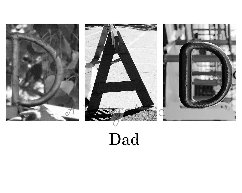 DAD D-A-D Word Art Architectural Alphabet Letters Print 8x10