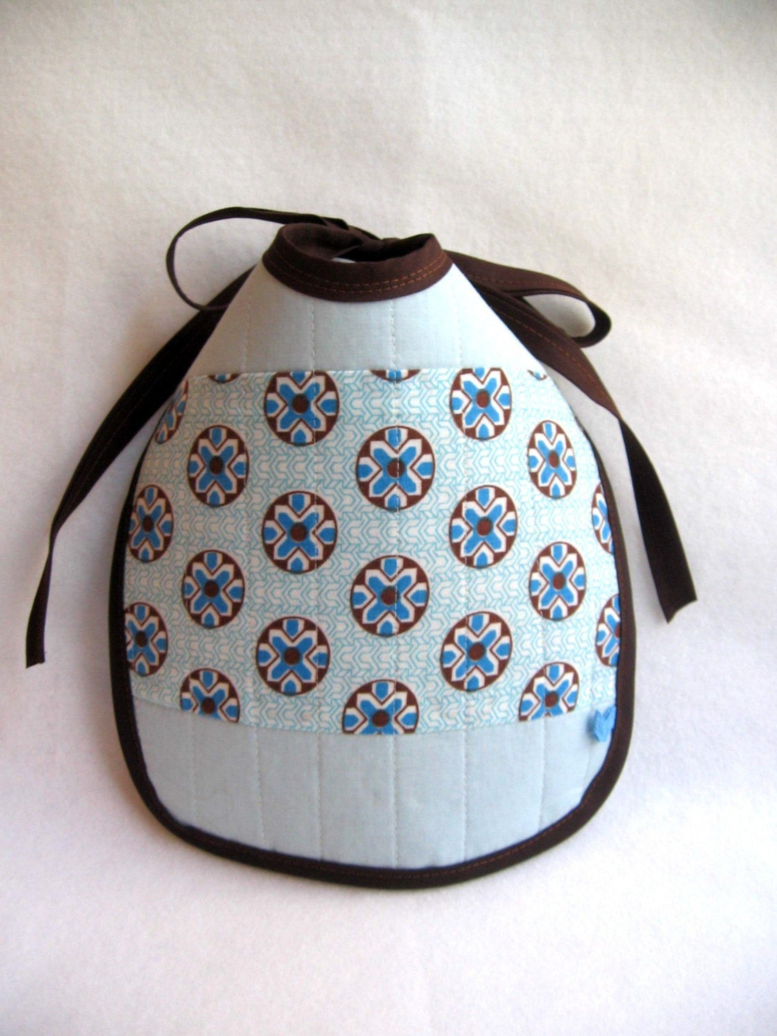 eco bib... the chocolate blueberry mousse Vintage Little Quilt Fabric Bib - limited edition