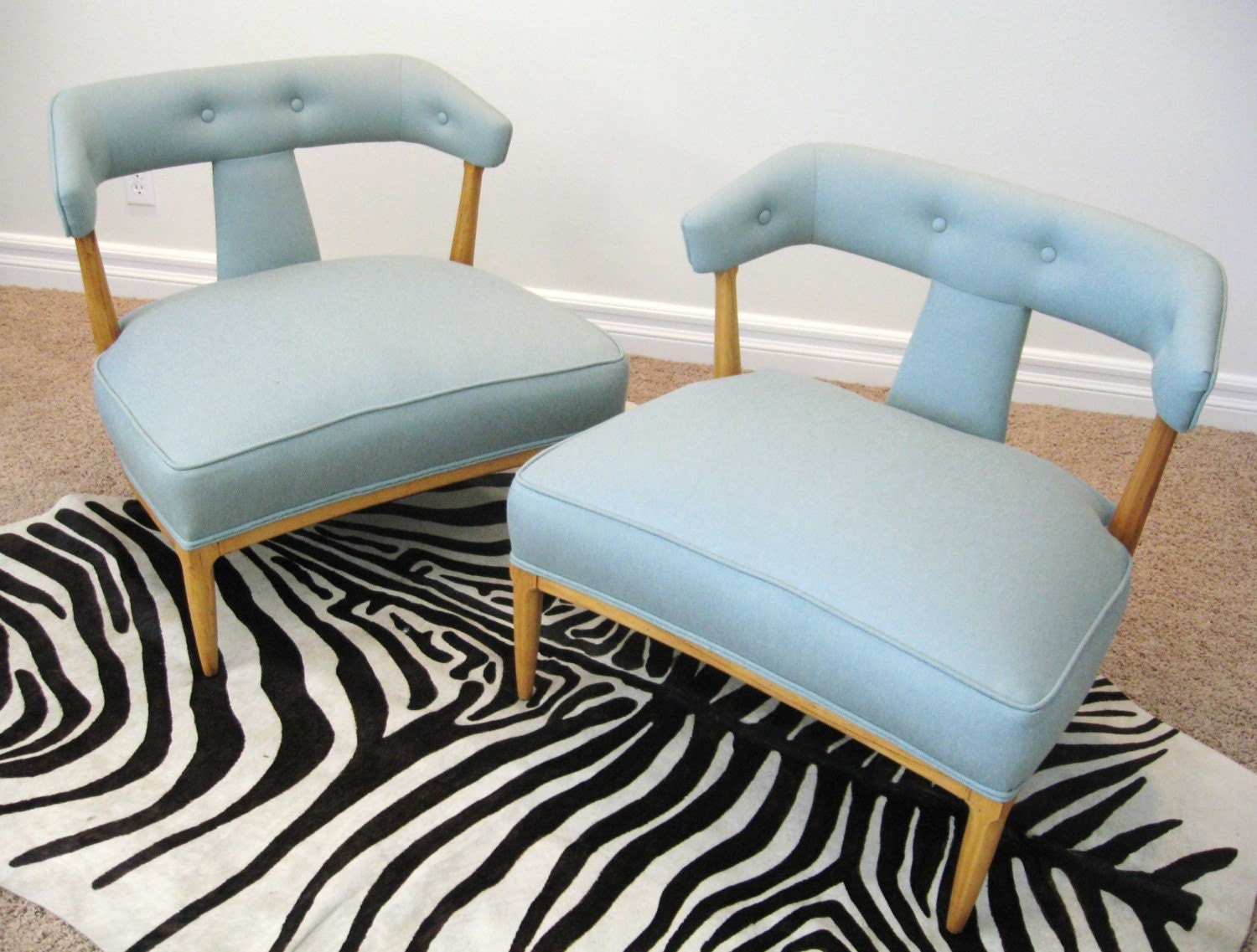 50s Mid Century MODERN Pair AQUA Slipper CHAIRS By TOMLINSON