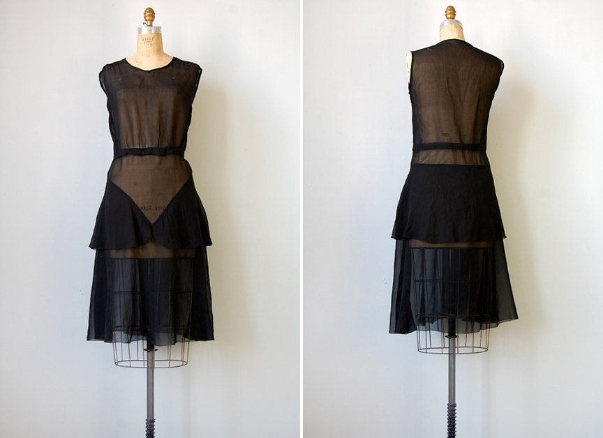 vintage 1920s dress / 1920s flapper dress / black sheer 1920s flapper dress