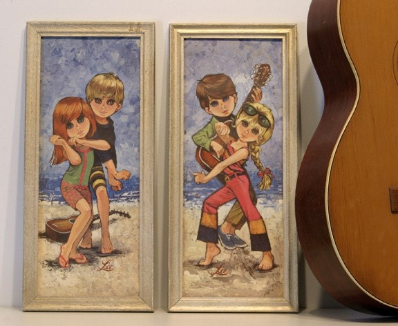 Vintage 60s Big Eye Boys - Girls Dance and Play Music on Beach