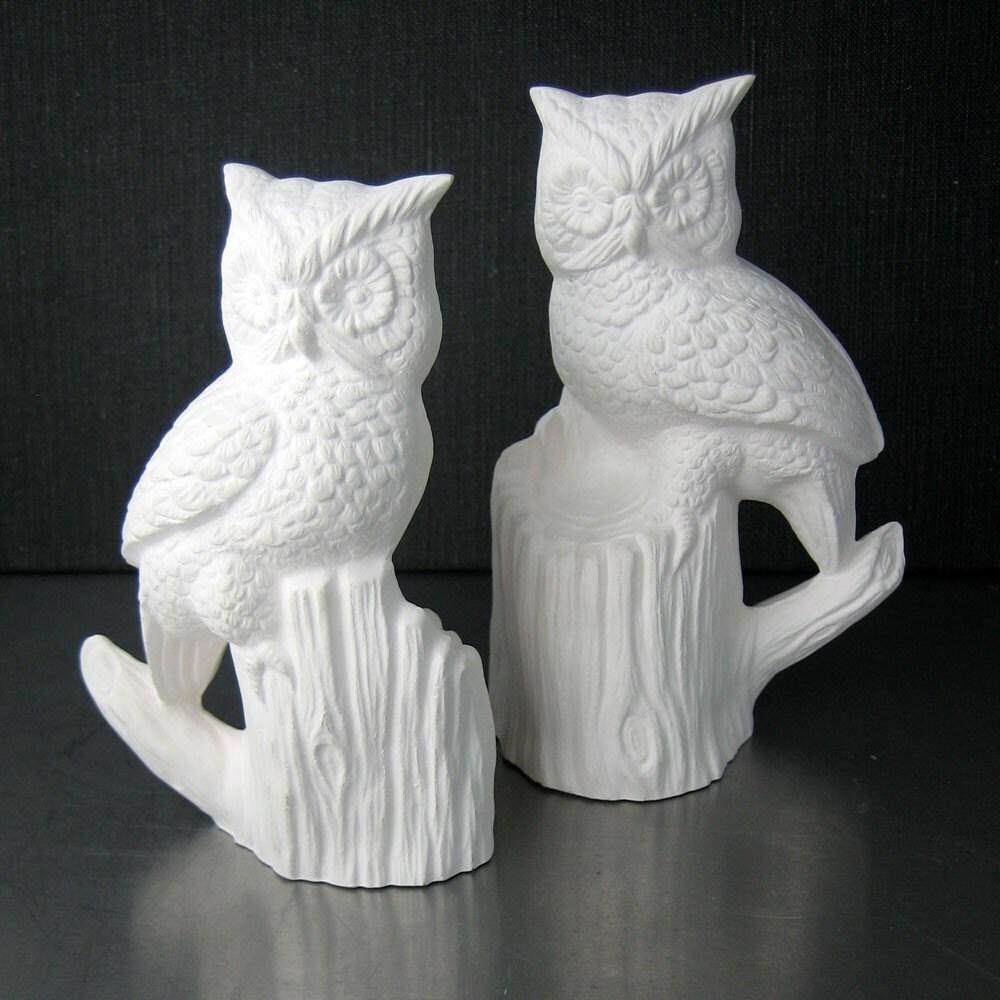 2 Ceramic Owls