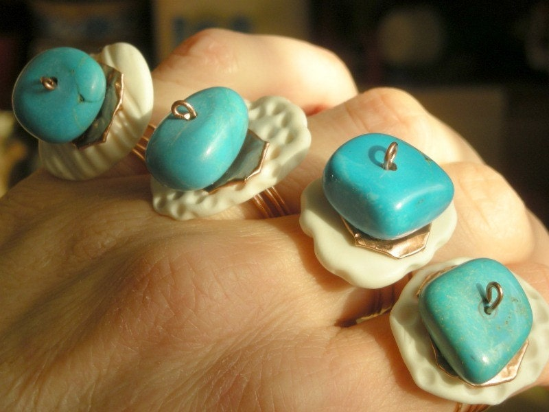 Остров On My Finger - Полимерная глина, медь и кольцо с бирюзой
