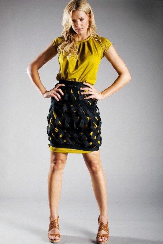 Woven Skirt - waist - Black cotton