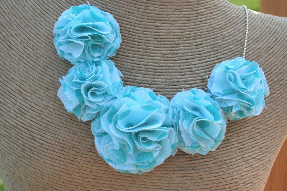 Fabric Flower Necklace (Aqua Dots)
