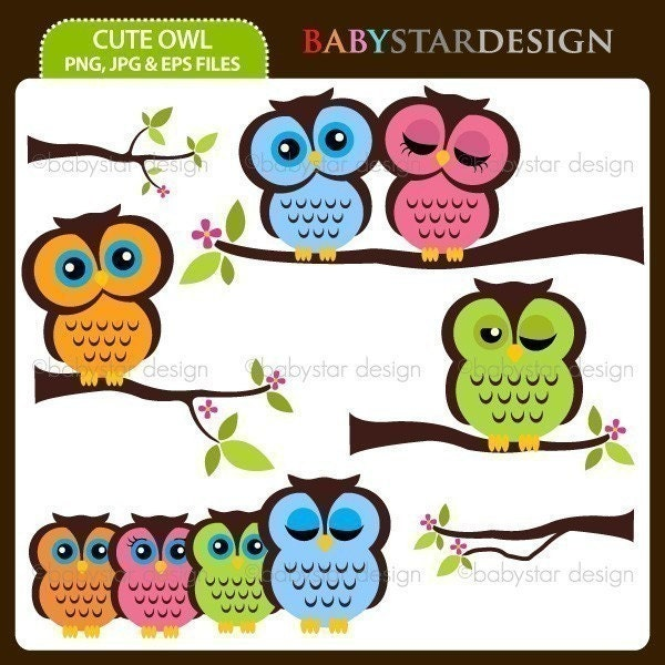 Cute Pics Of Owls. Cute Owl - Clipart Set