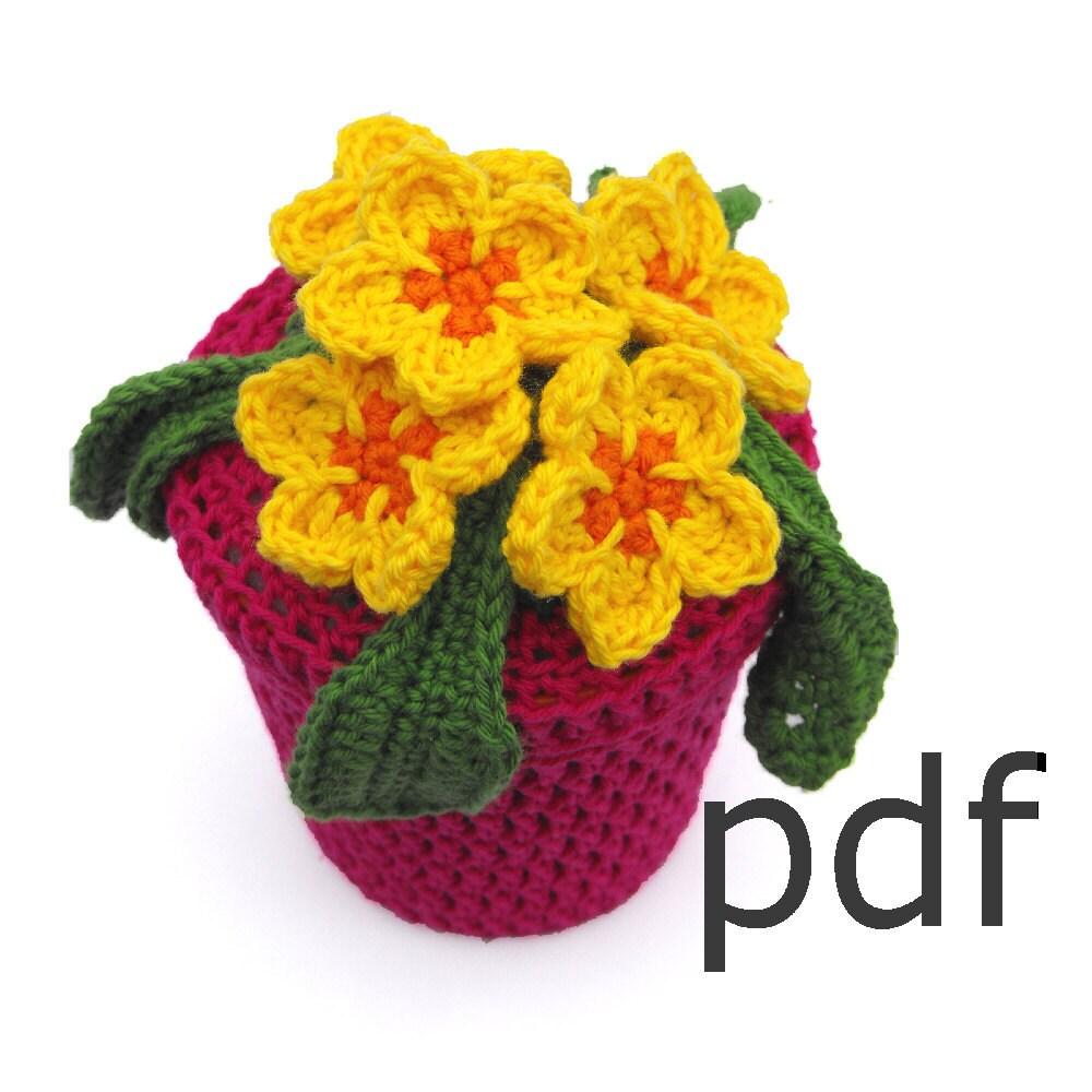 Crochet Flower In Pot Pattern : Items similar to Crochet pattern of primrose flowers in ...