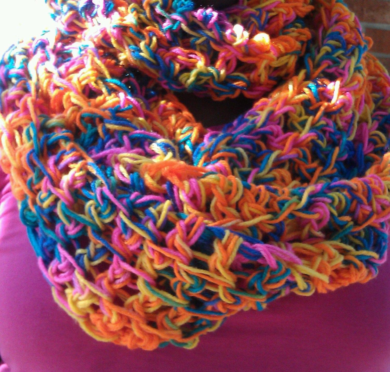 Crochet Rainbow Cowl, Circle Scarf, Infinity Scarf, Oversized Cowl