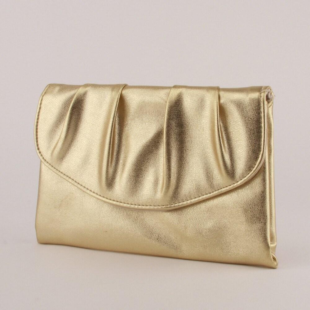 Vintage Gold Leather Envelope Ruched Clutch Deco Handbag 1940s 1950s