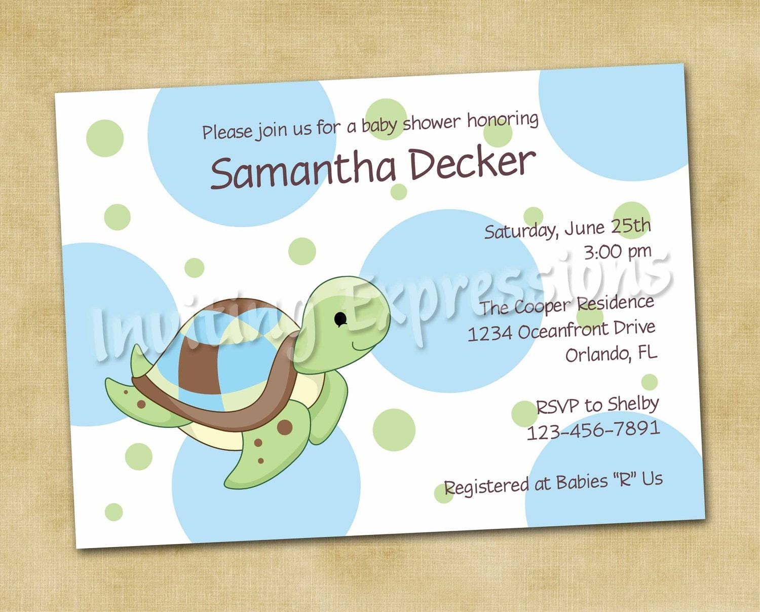 items similar to sea turtle baby shower invitations in blue on etsy