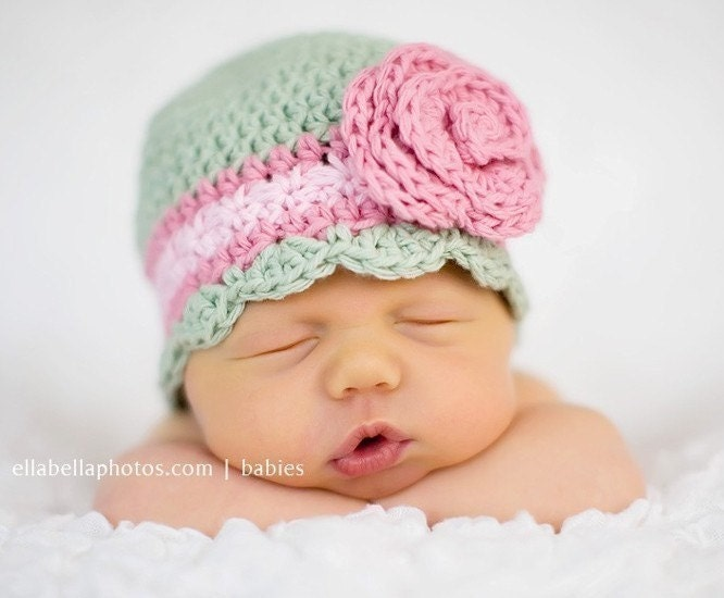 Newborn Baby Flower Flapper Hat with Rose - celery, rose pink, pastel pink, natural cotton, photo prop