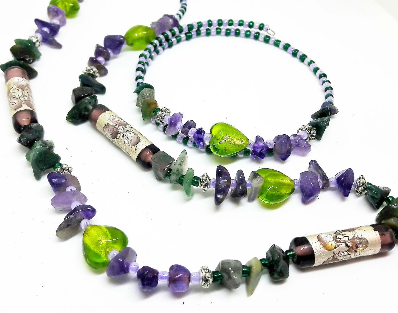Amethyst Jade gemstone necklace boho jewellery set gemstone chip jewellery silver foil heart necklace memory wire bracelet gift for her