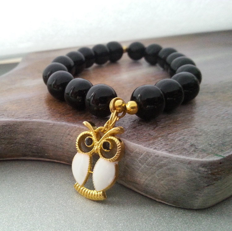 Black glass owl pendant bracelet christmas gift idea for her - MKedraDecoupage
