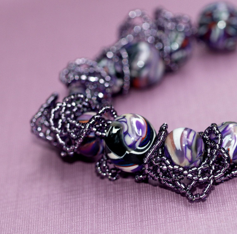 Wild Grapes - Ruffles, Frills, and Artisan Polymer Bead Bracelet (3260)