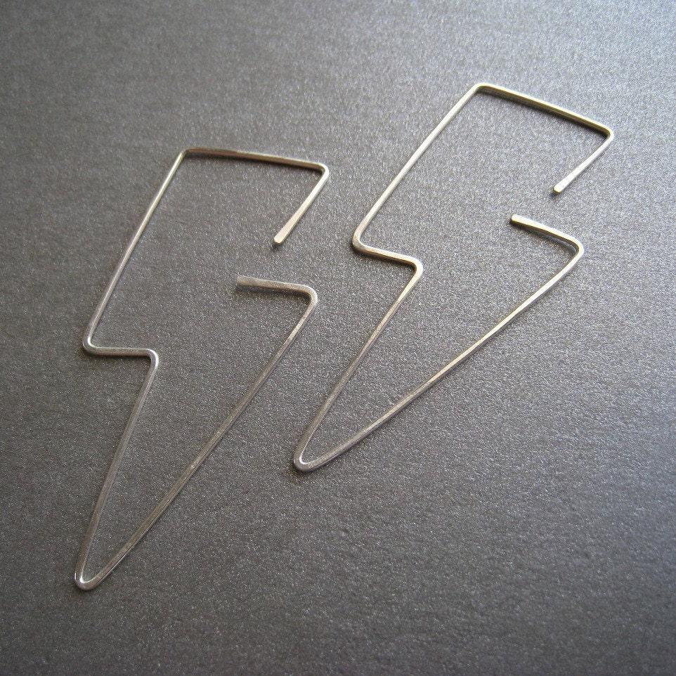Bolts - Simple Modern Sterling Silver Hoop Earrings