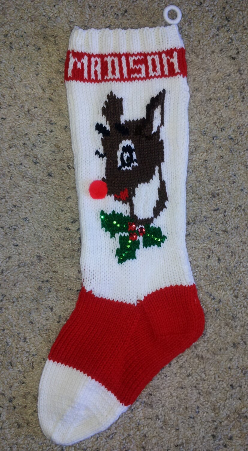 Hand Knit Christmas Stocking Patterns : Items similar to Hand Knitted Christmas Stocking Reindeer ...