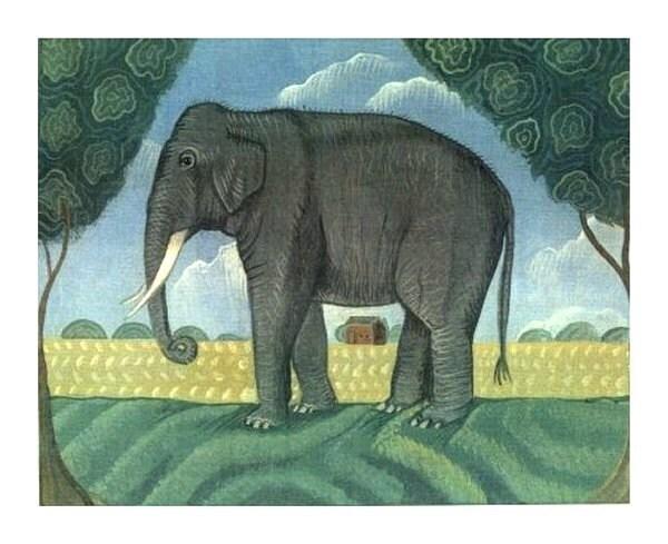 ELEPHANT Signed Painting Print FOLK ART LANDSCAPE Wendy Presseisen BIG GREY ELEPHANT African Jungle Art