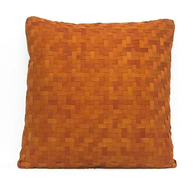 NEW ITEM  Hand Dyed Decorative Pillow - Interwoven No. 15 with orange and gold
