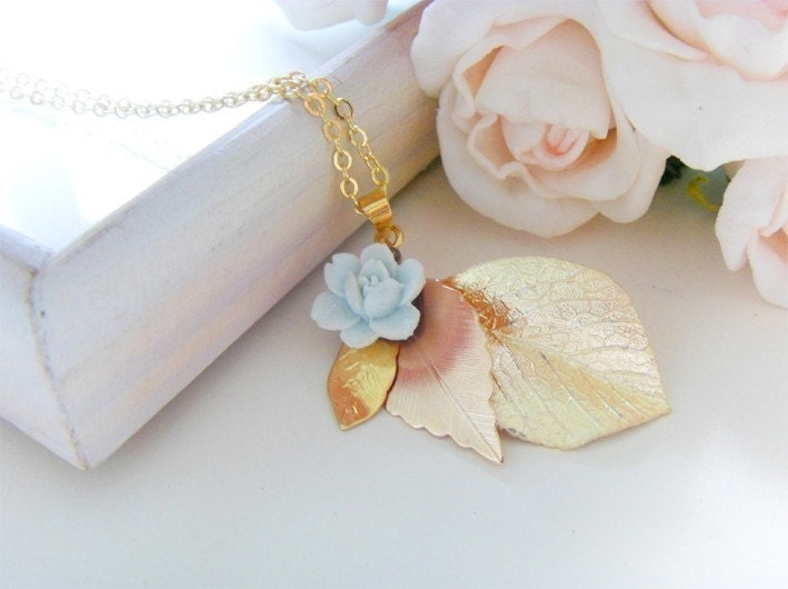 D'or  Vintage matte gold leaf layers and pale blue rose necklace