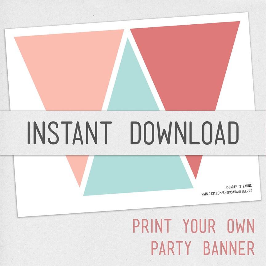 print your own pennant banner diy digital by daydrifterdigital
