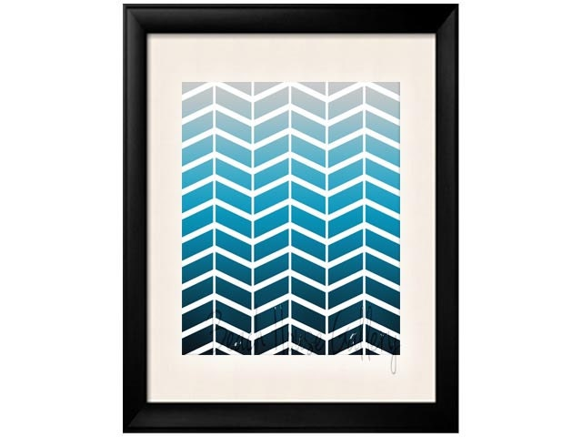 Chevron Art Print Navy Blue Silver Gray, Custom Colors, Modern Wall Decor, Zig Zag, Modern Wall Art, Herringbone, 8x10 Print