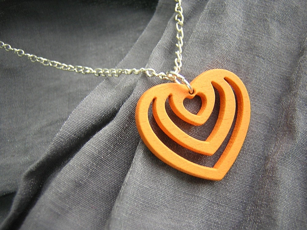 Painted Wooden Heart Simple Charm Necklace on Silver Chain