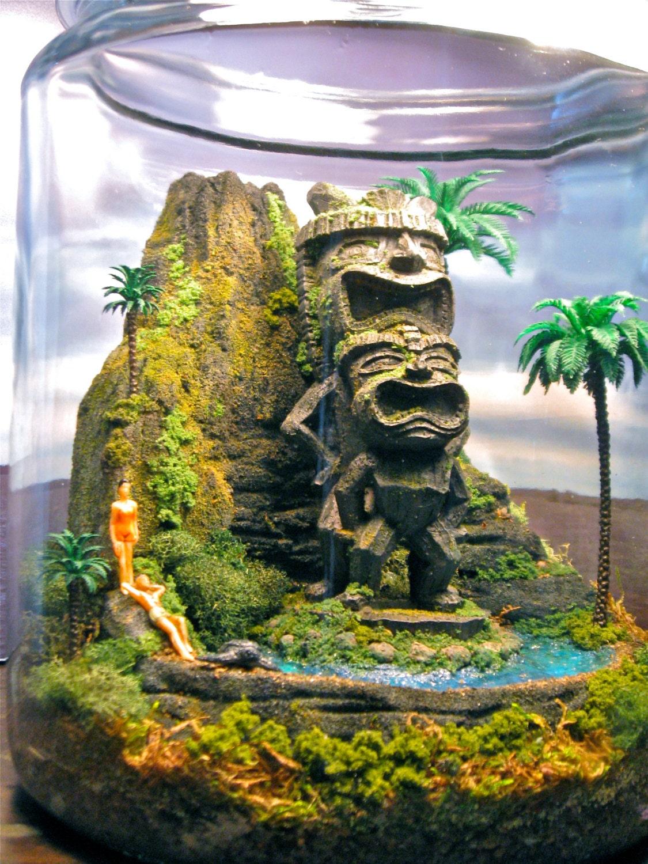 Tiki Idol Volcano - Miniature Hawaii Zen Garden - Terrarium / Diorama