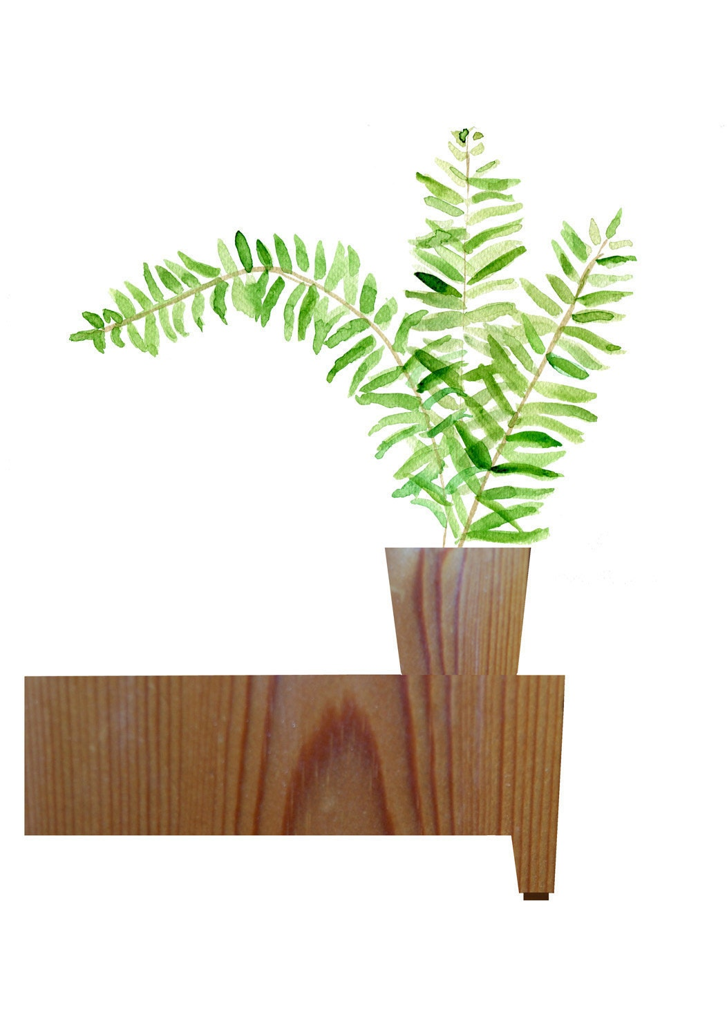Art print Fern on a wood table 16X11 Minimalist Digital Collage , modern ,zen,  brown green, Ofiice decor, Wall decor, by thejoyofcolor - TheJoyofColor