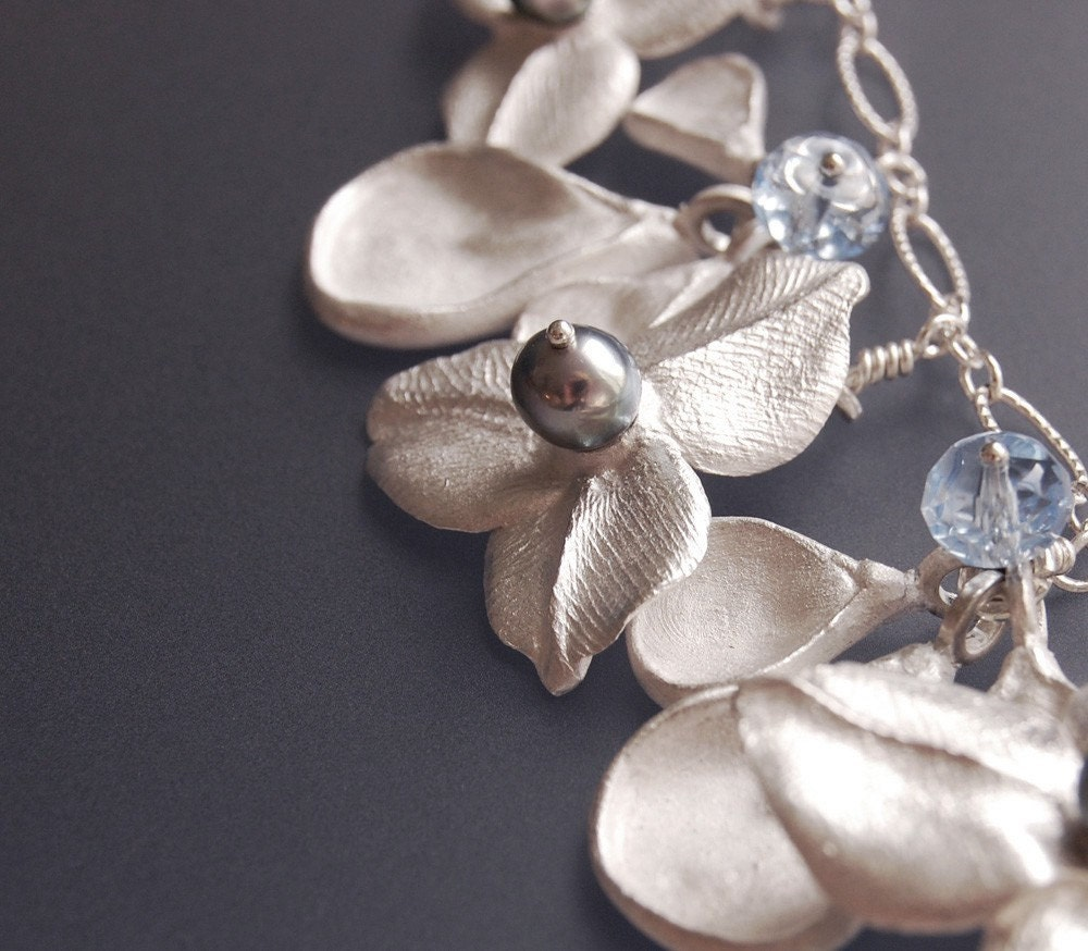 Silver Blue Pearl and Crystal Flower Necklace -- Blue Ophelia