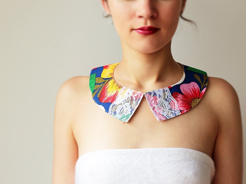 Floral Peter pan collar - Summer - Cotton and lace - Blue - Brazil - GalaBorn