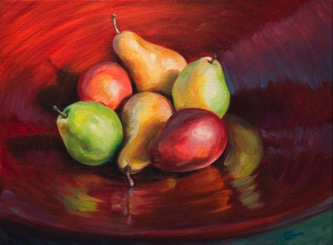 A Red Bowl of Pears - Original Painting, Framed