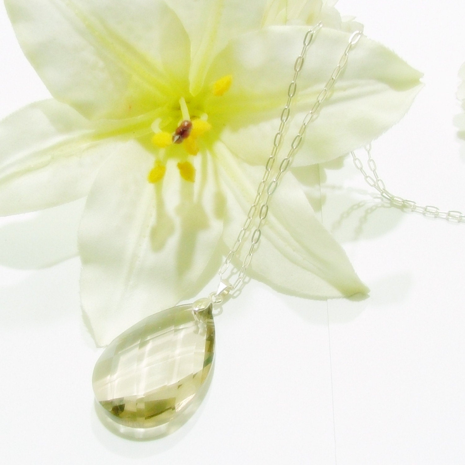 Champaign Teardrop Pendant with Sterling Silver Necklace