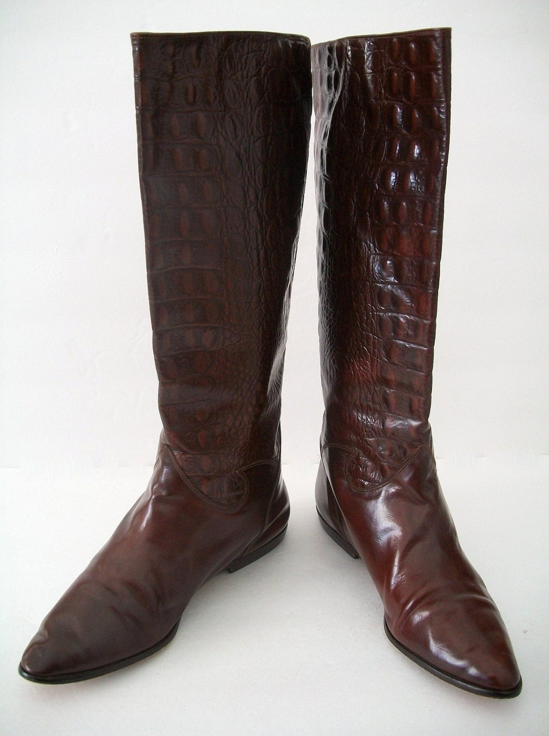 vintage italian made leather boots size 7 by