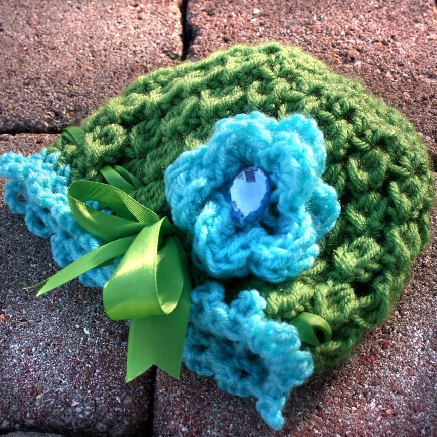 Ocean Gem Flower Beanie for 6-12 month old