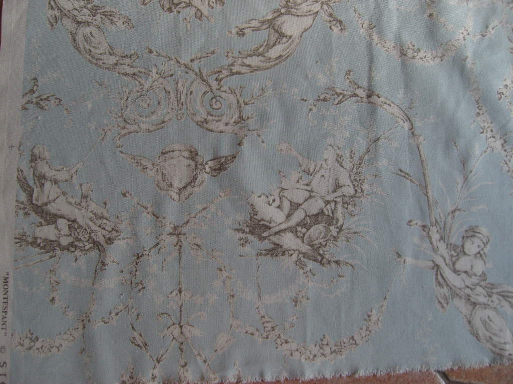 Fabric toile de jouy bit different pieces 18 x 26 ins for Toile shabby chic