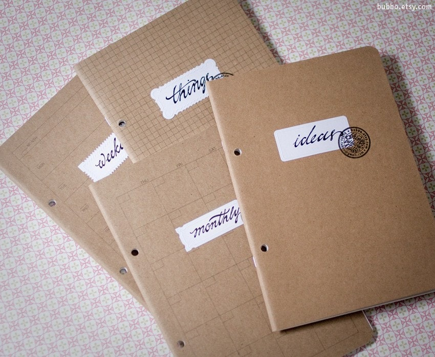 BLANK kraft paper recycled planner notebook, sketchbook with custom calligraphy label / eco-friendly, A5 Half-letter size