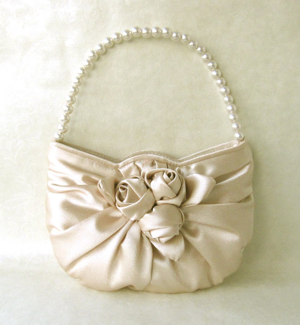 Bridesmaid Gift Clutches/Handbag---Rose Satin Handbag in Beige