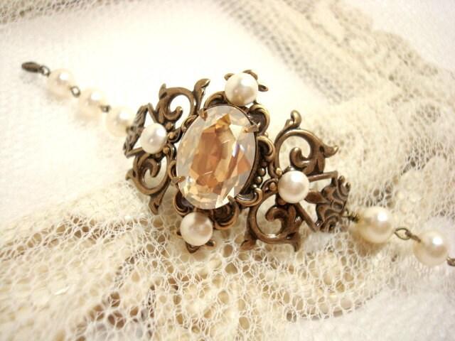 Bridal cuff bracelet, pearl bracelet, wedding jewelry, Vintage wedding bracelet with Swarovski pearls, Swarovski crystal and antique brass