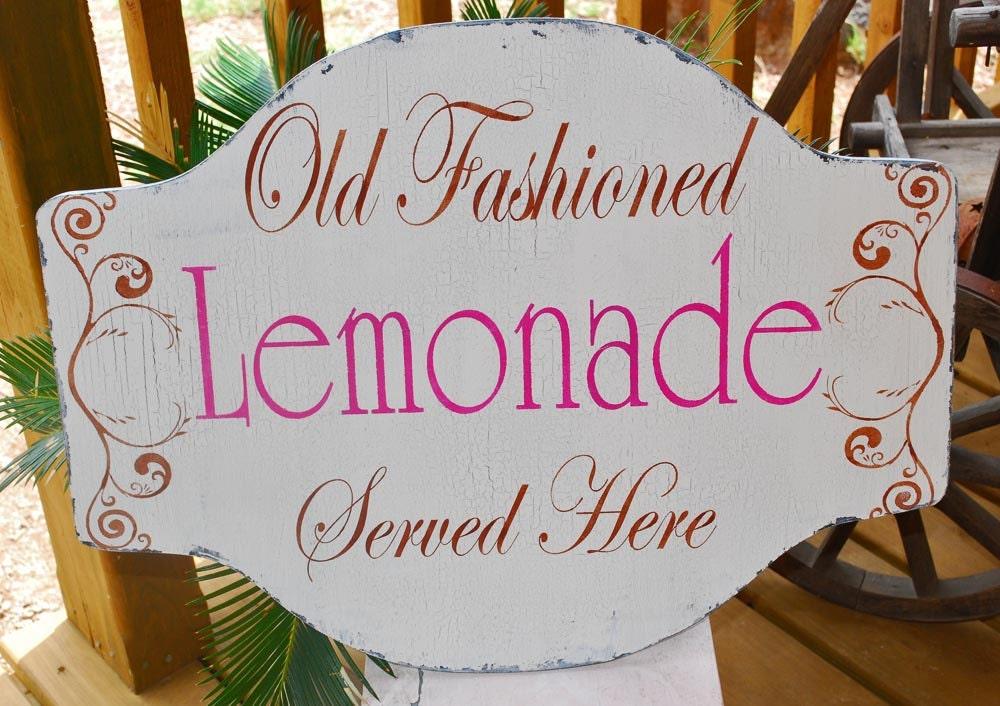 Cottage signs 24X18 Old Fashioned LEMONADE PINK Wedding Decor Vintage ...