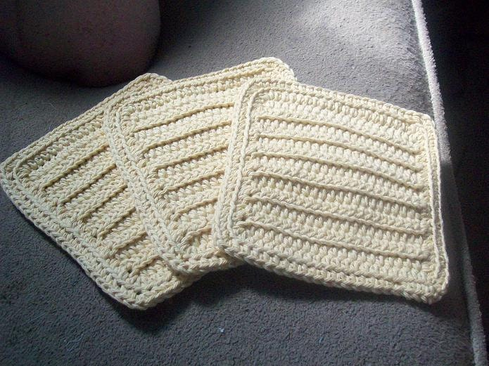 Cotton Crocheted Washcloths Set of 3 in Country Yellow