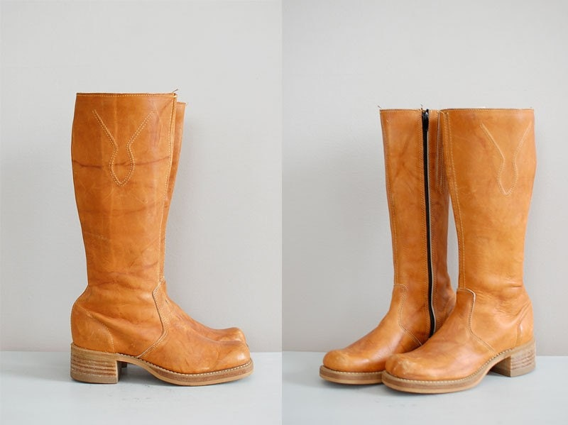 vintage 1970s Candied Pecan campus boots