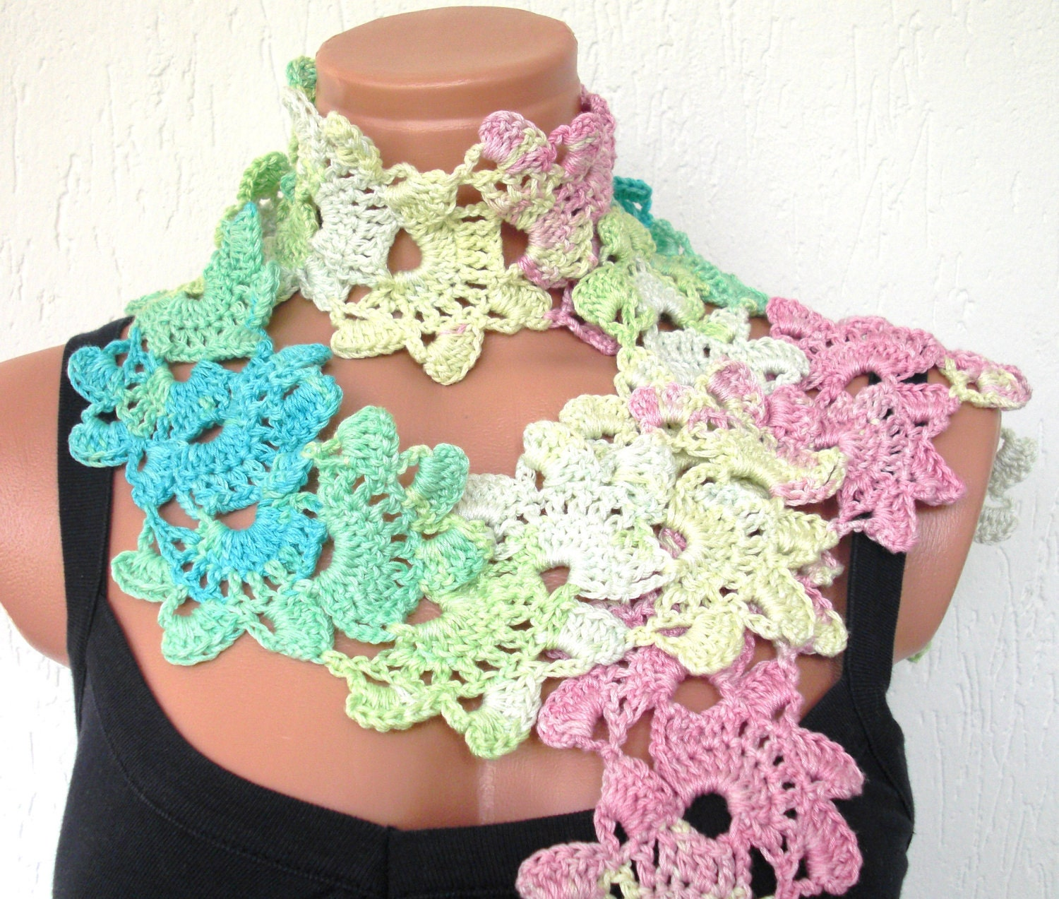 Crochet  Lace Scarf  in Cream pink blue green -Seashell Scarf - Inspired  Turkish  Lace- Cotton-  crochet Lariat- Summer Scarf