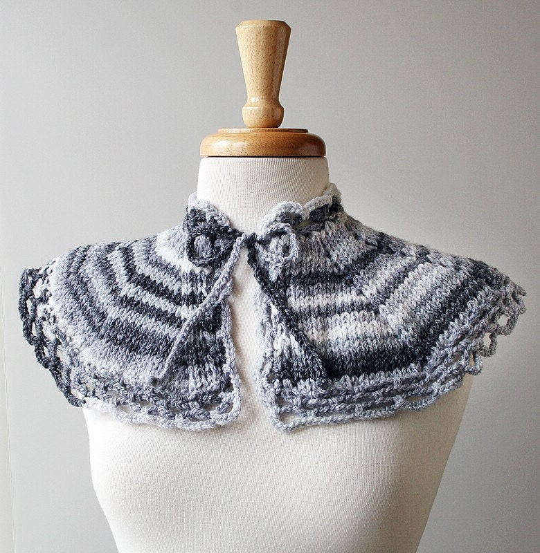 Sample SALE - Ombre Knit Merino Wool Collar - Matilda Scarflette - Grey and White - ElenaRosenberg